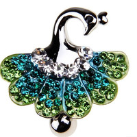 Crystal Peacock Dangle Belly Ring/Four colors/Crystal Belly Ring- Silver Charm Dangle Navel Piercing belly ring
