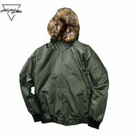 West Hooded Coats Men Detachable Fur Collar Bomber Jacket Men's Army Green Military Jacket