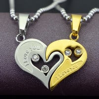 Stainless Steel Vintage Couples Hearts Pendant Necklace