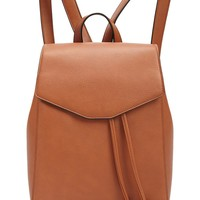 Faux Leather Drawstring Backpack