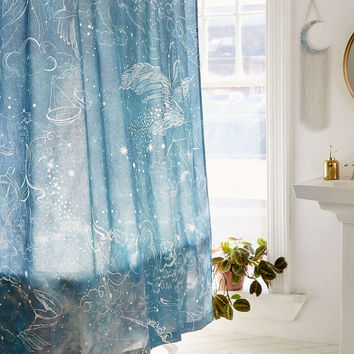 Illustrative Zodiac Shower Curtain - Urban Outfitters