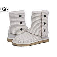 UGG Autumn And Winter Fashion New Keep Warm Boots Knit Button Shoes Women