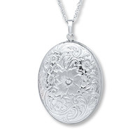 Locket Necklace Diamond Accent Sterling Silver