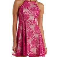 Racer Front Lace Skater Dress by Charlotte Russe