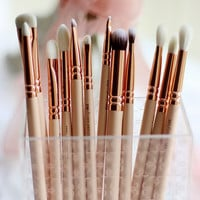 12pcs/set rose golden complete eye set precision eyes makeup brushes set with eyeshadow blending pencil makeup brushes