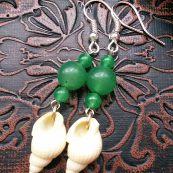Green Aventurine Sea Shell Earrings One of A Kind for Crystal Healing, Find Positive Vibes, Increase your Optimism & Positive Energy
