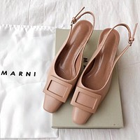 MARNI Fashion Women Leather Sandals Shoes High Heels Apricot