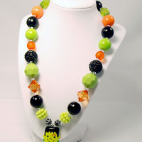 Frankenstein Halloween neeklace Girls Boutique necklace Chunky Beaded Necklace infant and baby necklace