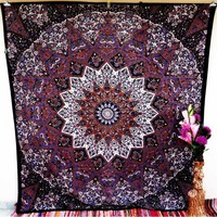 Brown Purple Psychedelic Elephant Star Mandala Wall Hanging Indian Handmade Tapestry Bedspread