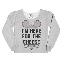 I'm Here for the Cheese-Female Heather Grey T-Shirt
