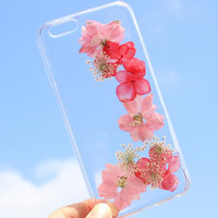 Summer Case 100% Handmade Dried Flowers Cover for iPhone 7 7Plus & iPhone 6 6s Plus + Gift Box B61