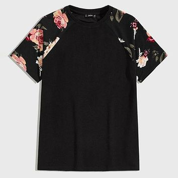 Fashion Casual Men Floral Raglan Sleeve Tee
