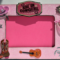 Pink Cowgirl Picture Frame - Cowgirl Themed Party - Birthday Gift - Baby Shower Gift - Cow Girl Decor - Wood Frame