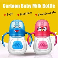 Cartoon Baby Milk Bottle Infant Toddler Feeding Bottles Kids Water Bottles Cups Wide Mouth Bottles