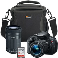 Canon EOS Rebel T5i 18.0MP DSLR Camera with 18-55mm Lens, Extra 55-250mm Lens, Bag & 16GB Memory Card