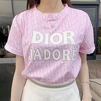 Dior Women Letter Print Short Sleeve Shirt Top Tee-1