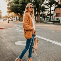 Nestled Up Cable Knit Cardigan - Amber