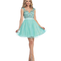 Mint & Nude Beaded Floral Chiffon Illusion Back Dress 2015 Homecoming Dresses