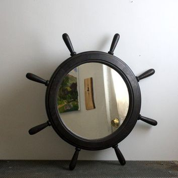 Large Vintage Ship's Wheel Mirror by shavingkitsuppplies on Etsy