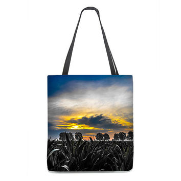 Corn Field Tote Bag with vivid blue sky