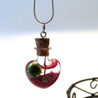 Hearts on fire, Marimo terrarium necklace with genuine silver 18 inch chain, valentines day, for her