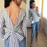 Plus Size Sexy Striped Open Back Deep V tops Long Sleeved Bandage Shirt For Women Ladies Clothes LX008