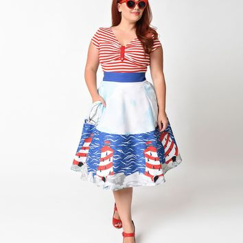 Unique Vintage Plus Size 1940s Nautical Lighthouse High Waist Hoover Swing Skirt