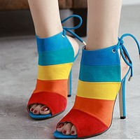 Sexy stiletto heels with hot style peep-toe stripes shoes