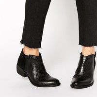 Dune Penelope Croc Effect Leather Flat Ankle Boots at asos.com