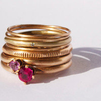 Ruby, Pink Tourmaline, & Recycled Diamond engagement stack ring set. Peach gold finished bronze, feminine, rustic, delicate stacking rings