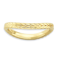 Sterling Silver Stackable Expressions Polished Gold-plate Wave Ring: RingSize: 7