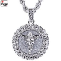 "Jewelry Kay style Men's Rhodium Plated Iced Out CZ Medallion Pray Angel Pendant 24"" Chain HC 121 S"