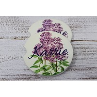 Personalized Car Coasters | Custom Car Accessories | Lilac | Set of 2