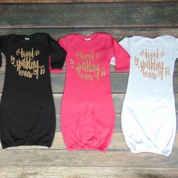 NB Brand Sparkling New Baby Sleeper Gown - Choose Color - Bodysuit Sleepwear - Baby Shower - Gold Glitter Sparkle -  Ann Marie Avenue