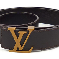 Louis Vuitton Mens Belt Size 48, 120 Leather Strap LV Initial Buckle CA1049 Brown