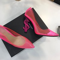 YSL Yves Saint Laurent  fashion female Stretch Knit leather Leather Zipper Ankle Short Boots Flats High Heels Shoes Winter Autumn pink