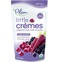 Plum Organics Little Crèmes Super Purples - Acai, Blackberry & Purple Carrot | Little Crèmes, a line of colorful, bite-sized rice milk snacks made of real fruit & veggie blends, are perfect for tactile development and the introduction of new tastes and tex