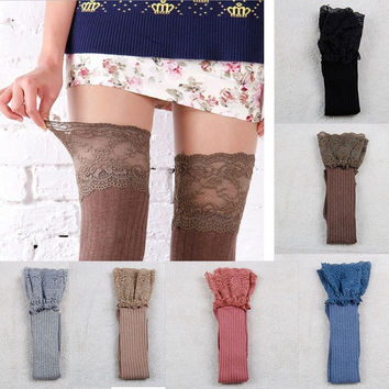 Women Knitting Lace Cotton Over Knee Thigh Stockings High Socks Pantyhose Tights = 1929884100