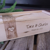 Wedding Wine Box for Rustic Wedding With Engraved Woodburned Tree