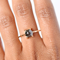 Black Hexagon Rose Cut Diamond Ring
