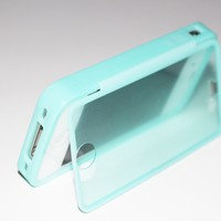 SOGA® Teal Wrap Up TPU Gel Skin Case Phone Cover With Built-In Screen Protector For iPhone 4 / 4S
