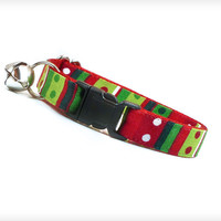 "Holiday Cat Collar - ""The Grinch"" - Seuss-Inspired Red & Green Holiday Pattern"