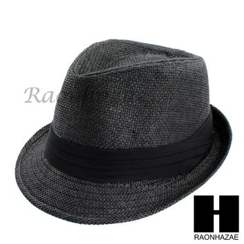 MEN WOMEN SUMMER BEACH PANAMA STRAW FEDORA TRILBY CUBAN BLACK HAT F002
