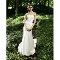 Gorgeous Strapless Sweetheart Satin Sheath Gown Vintage Wedding Dress - Basadress.com