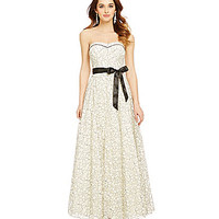 Xtraordinary Strapless Two-Tone Lace Ball Gown - Ivory/Black