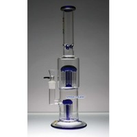 """16"""" Flame Glass Bong with 12-Arms Top Perc and 6 Arms Down Perc"""