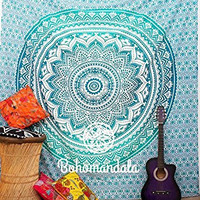 Large Indian Mandala Tapestry Hippie Hippy Wall Hanging Throw Bedspread Dorm Tapestry Decorative Wall Hanging , Picnic Beach Sheet Cover Beach Throw Traditional Mandala 90 X 90 Inch