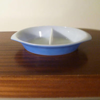 Vintage 1970s Pyrex Crown Ovenware Blue Divided Casserole / Vegetable Dish / Retro Milk Glass Baking Dish