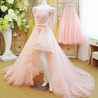 Off-shoulder Hi-lo Evening Dress with Lace Appliques Beadings and Bow Sash Prom Gown Wedding Dress
