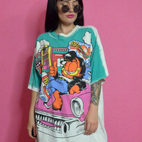vintage 1970s Garfield tshirt oversized cartoon graphic print slouchy shirt dated 1978 large